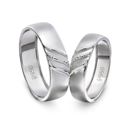 Elegant Plain Platinum Couple Rings JL PT 534