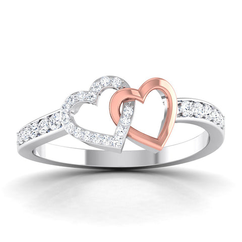 Entangled Hearts Platinum Ring with Diamonds for Women JL PT 552
