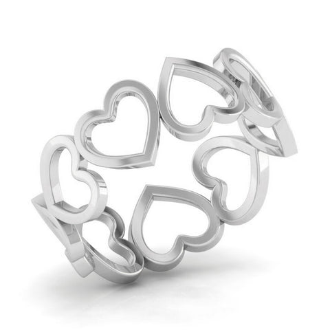 Perspective View of Eternity of Hearts Plain Platinum Ring JL PT 551 for Women