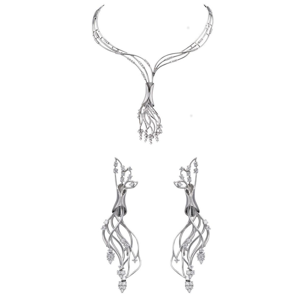 Evara Platinum Necklace Earrings with Diamonds JL PT N21
