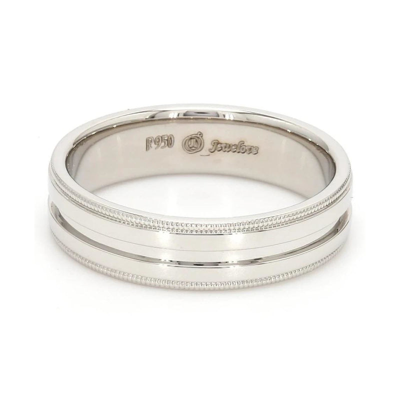 FRONT View of Designer Half Eternity & Plain Platinum Men's Rings JL PT 524