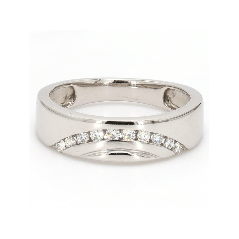 Front View of Designer Platinum Love Bands with Diamonds in a Curve SJ PTO 237