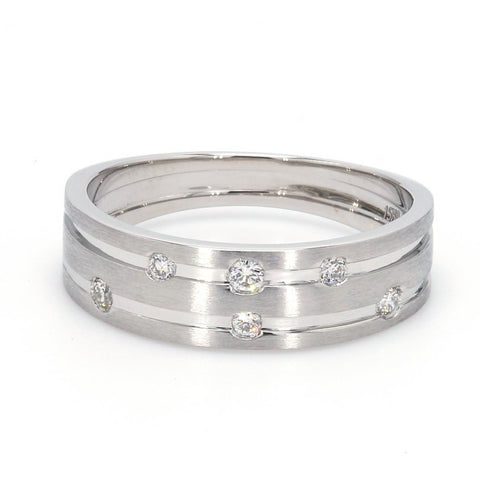 Designer Platinum Ring with Grooves & Diamonds for Women JL PT 570