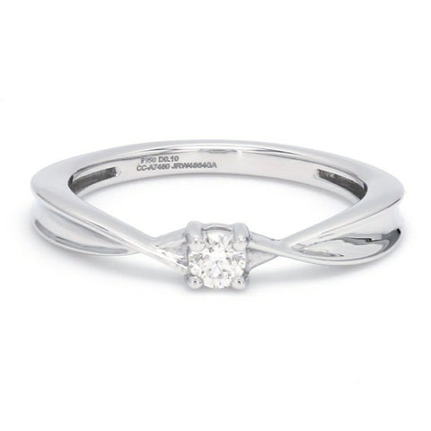 Single Diamond Platinum Ring with a Curve for Women JL PT 579 Ring Size 10, 12