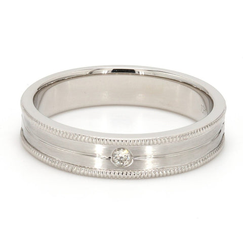 FRONT View of Unisex Designer Platinum Ring with Raised Milgrain Edges & a Single Diamond JL PT 571