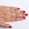 Finger Shot of Single Diamond Platinum Ring for Women JL PT 500. This photo shows how the ring looks on a woman's hand.