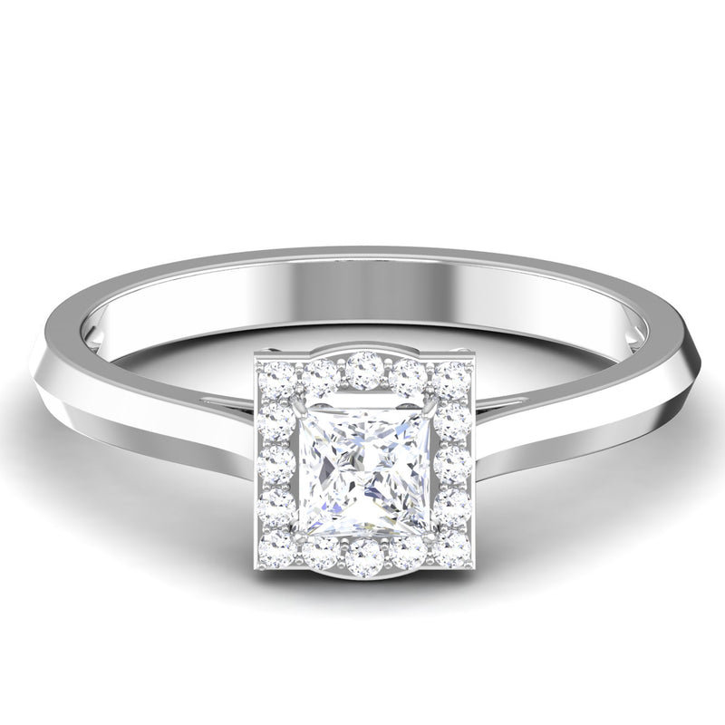 50 Pointer Platinum Halo Princess Cut Diamond Solitaire Engagement Ring JL PT 6997