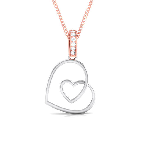 Front Platinum of Rose Double Heart Pendant with Diamonds JL PT P 8101