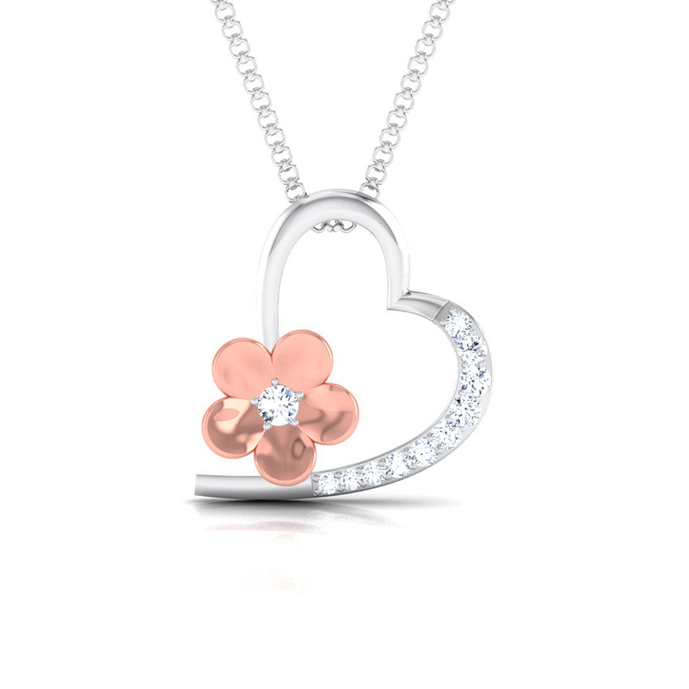 Front View of Platinum of Rose Heart Pendant with Diamonds JL PT P 8110