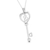 Front Side View of Platinum Key to Your Heart  Pendant with Diamonds JL PT P 8198