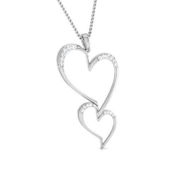 Front Side View of Platinum Double Heart Pendant with Diamonds JL PT P 8078