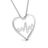 Front Side View of  Platinum Love Pendant with Diamonds JL PT P 8090