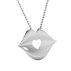 Front Side View of Platinum Love Pendant with Diamonds JL PT P 8093