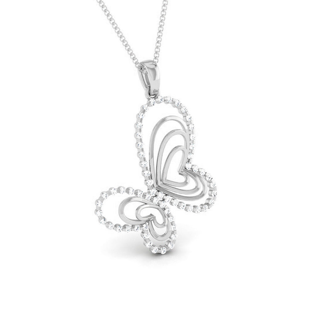 Front Side View of Platinum Love Pendant with Diamonds JL PT P 8109