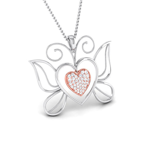 Front Side View of Platinum of Rose Double Heart Pendant with Diamonds JL PT P 8076