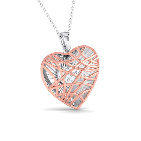 Front Side View of Platinum of Rose Heart Pendant with Diamonds JL PT P 8102