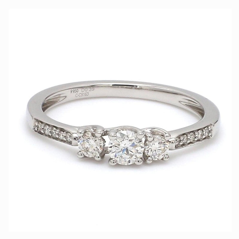 Front View of 0.20 cts. Platinum Solitaire Engagement Ring with Diamond Accents JL PT 327