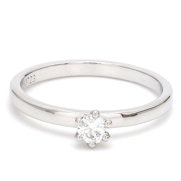 Front View of 14 Pointer Classic 6 Prong Platinum Ring SKU 0012-A