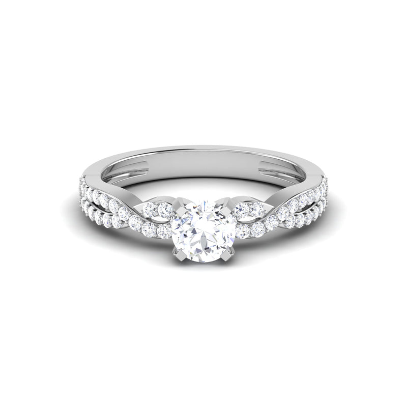 Front View of Designer 30 Pointer Platinum Double Shank Diamond Solitaire Engagement Ring JL PT 6994