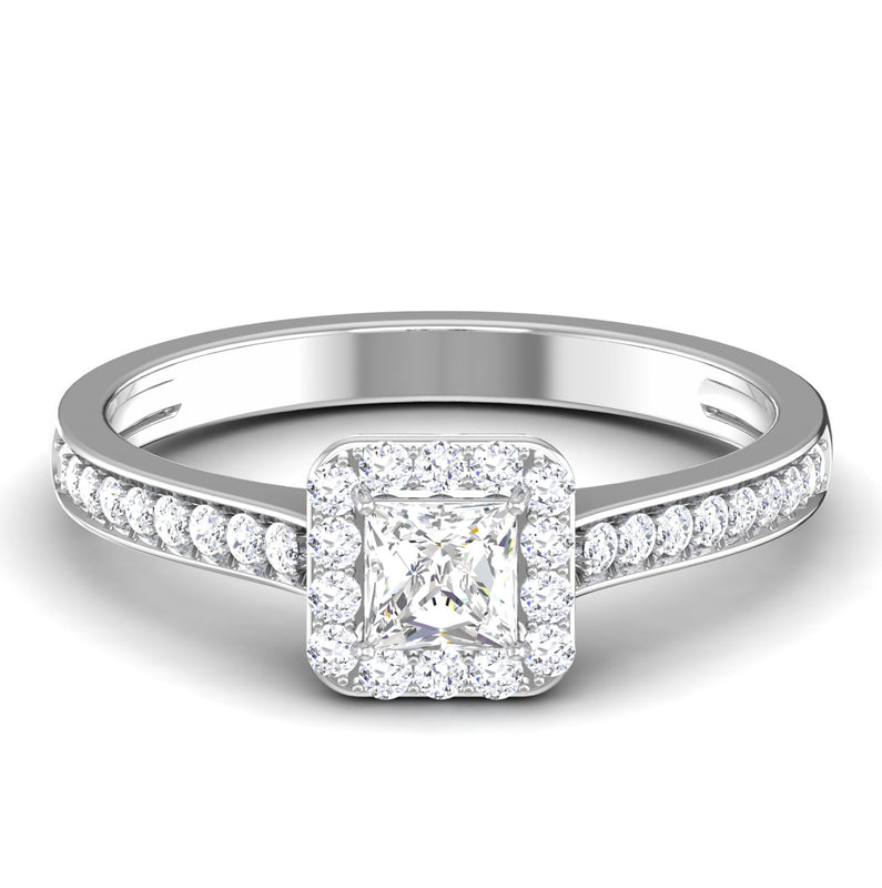Front View of 30 Pointer Platinum Shank Halo Princes Cut Diamond Solitaire Engagement Ring JL PT 7013