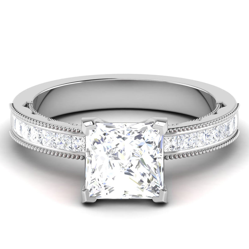 50 Pointer Princes Cut Solitaire Platinum Engagement Ring with Diamond Shank JL PT 6605