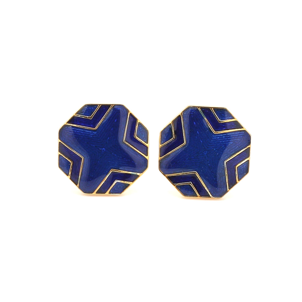 Front View of 925 Silver Cufflinks for Men with Blue Enamel JL AGC 6