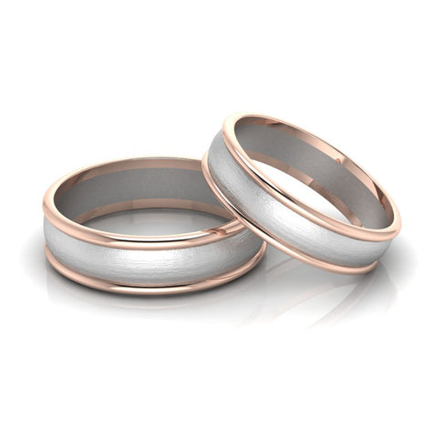 Front View of Classic Plain Platinum Couple Rings With a Rose Gold Border JL PT 633