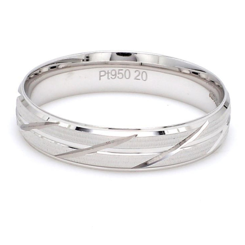 Japanese Platinum Love Bands with Slanting Grooves JL PT 608