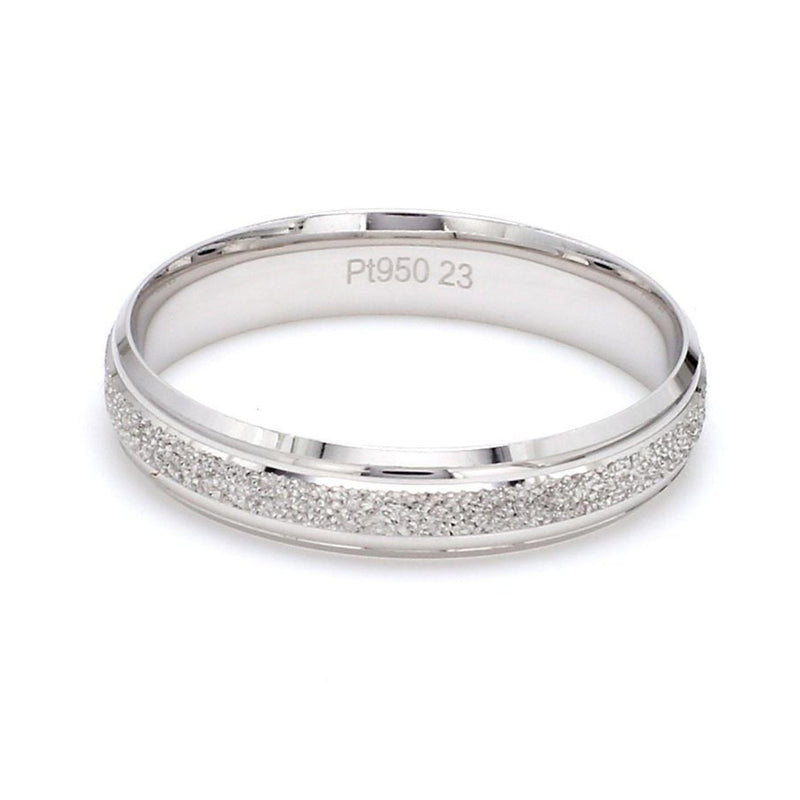 Front View of Japanese Rough Texture Platinum Love Bands JL PT 609