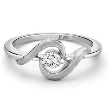 Platinum ring with Single Diamond for Women SJ PTO 201 - Suranas Jewelove
