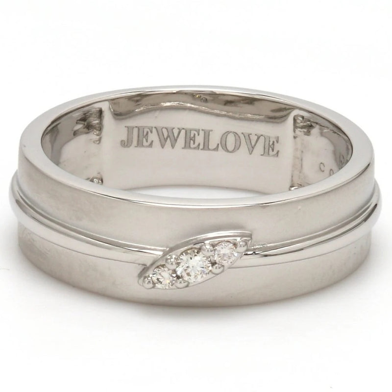 Front View of Designer Platinum Love Bands with Diamonds Ring for Men SJ PTO 238