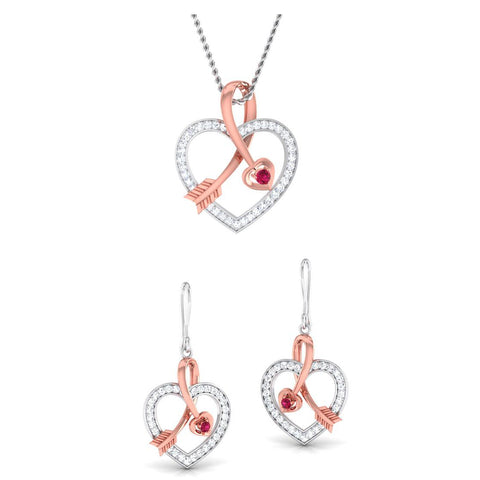 Platinum of Rose Heart Pendant Set with Diamonds JL PT P 8064