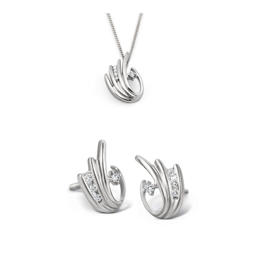 Platinum Earrings with Channel set Diamonds SJ PTO E 105