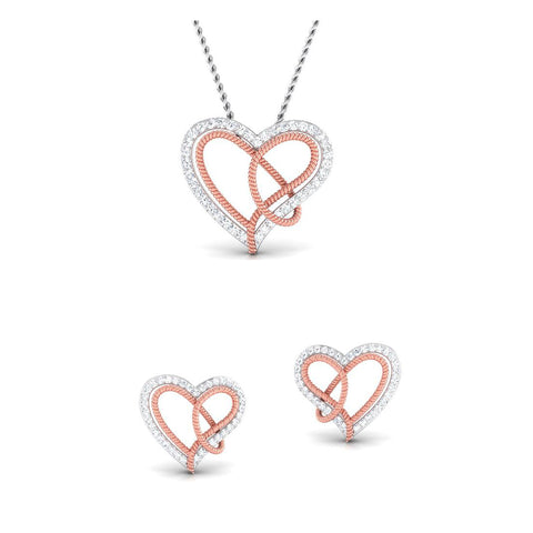 Platinum of Rose Double Heart Pendant Set with Diamonds JL PT P 8084