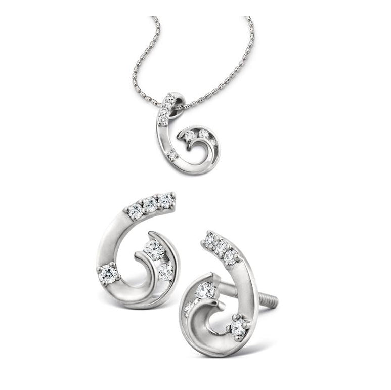 Classic Platinum Earrings Pendant Set with Matte Finish SJ PTO E 103