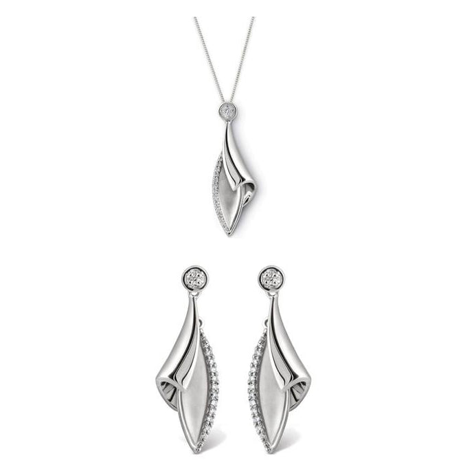 Contemporary Platinum Earrings Pendant Set SJ PTO E 110