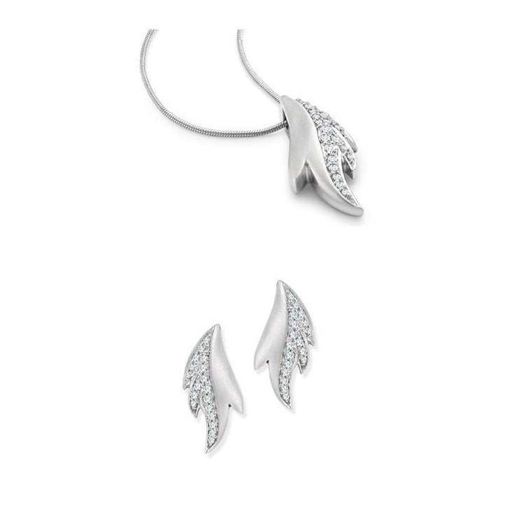 Dew Drops Platinum Earrings Pendant Set with Diamonds SJ PTO E 122