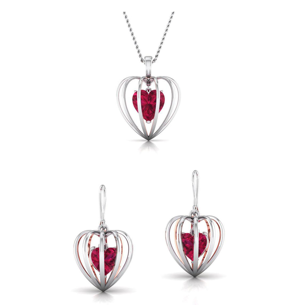 Platinum of Rose Heart Pendant Set with Diamonds JL PT P 8072