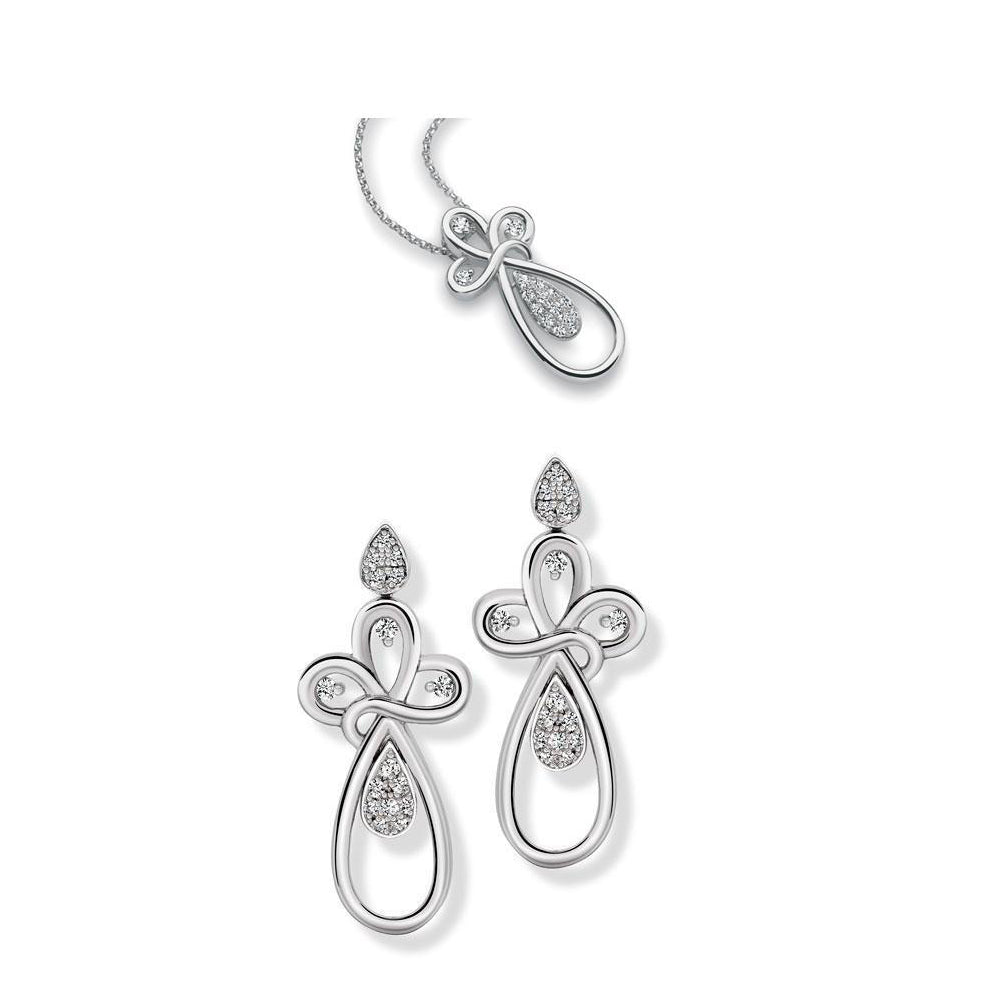 Platinum Dangler Earrings Pendant set with Diamonds SJ PTO E 146