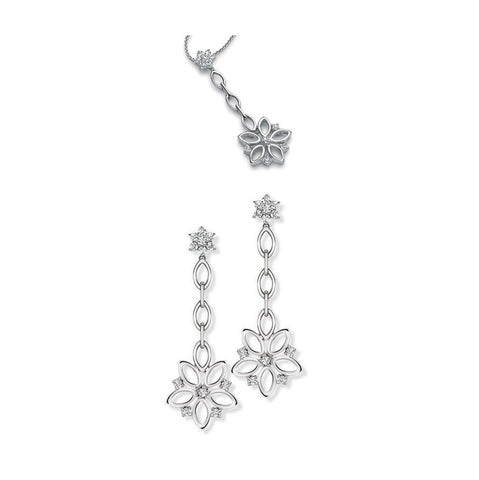 Platinum Chandeliers Earrings Pendant Set with Diamonds, Hanging Flowers SJ PTO E 148