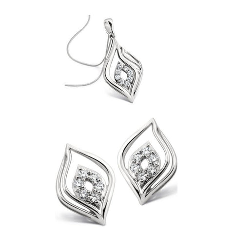 Platinum Pendant Earrings set designed as Petals SJ PTO E 107