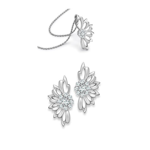 Platinum Earrings Flower Studs Pendant Set SJ PTO E 119