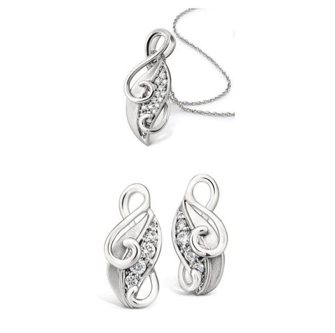 Platinum Earrings Designed as Leaves Pendant Set SJ PTO E 108