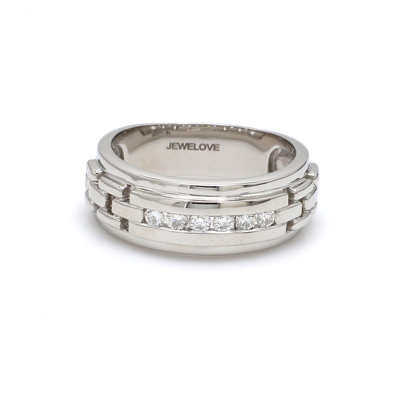 Front View of Men's Platinum Wedding Ring with Diamonds SJ PTO 229