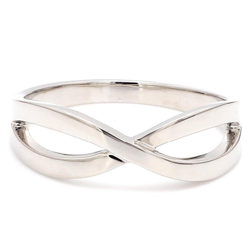 Front View of Plain Platinum Infinity Ring JL PT 911