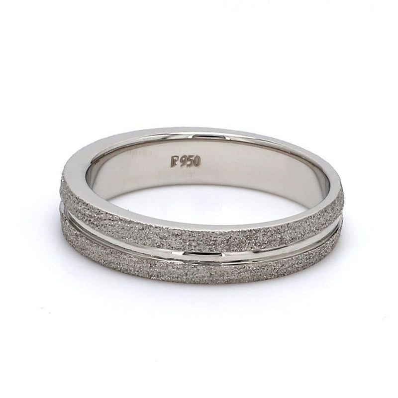 Front View of Plain Platinum Ring with Rough Finish & a Groove JL PT 580