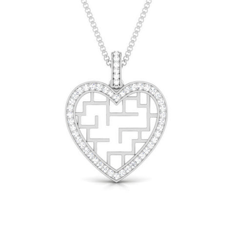 Front View of Platinum Infinity Heart Pendant with Diamonds JL PT P 8202