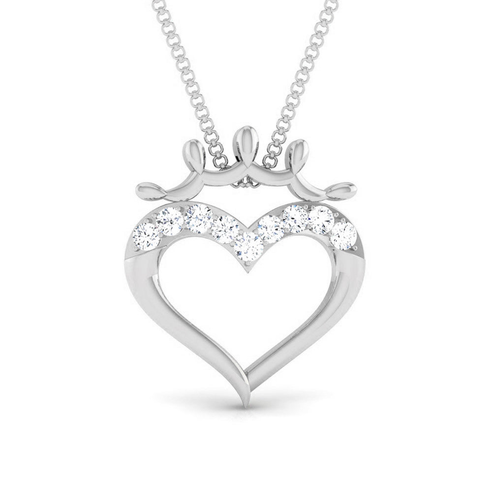 Front View of Platinum Infinity Heart Pendant with Diamonds JL PT P 8215