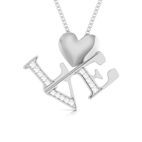 Front View of Platinum Infinity Heart Pendant with Diamonds JL PT P 8218