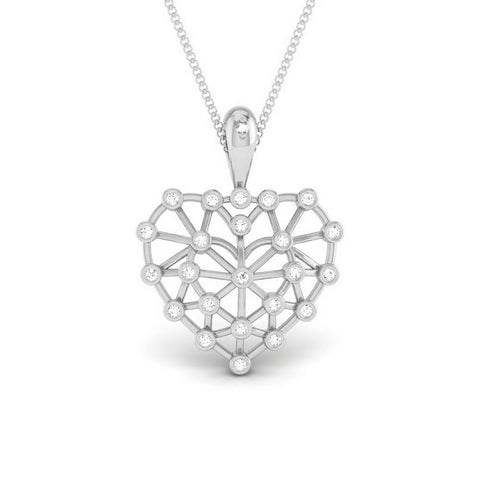 Front View of Platinum Infinity Heart Pendant with Diamonds JL PT P 8219